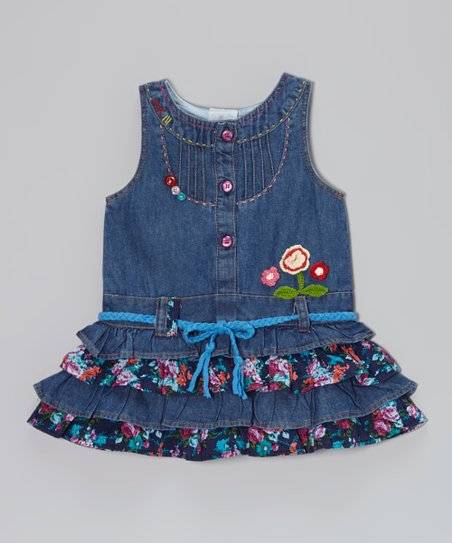 Blue Denim Floral Dress - Infant, Toddler & Girls