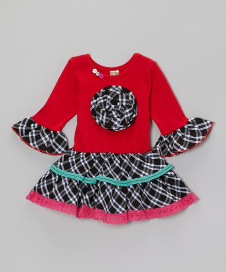 Red & Aqua Plaid Flower Ruffle Dress - Toddler & Girls