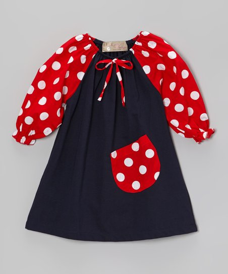 Navy & Red Polka Dot Peasant Dress - Toddler & Girls