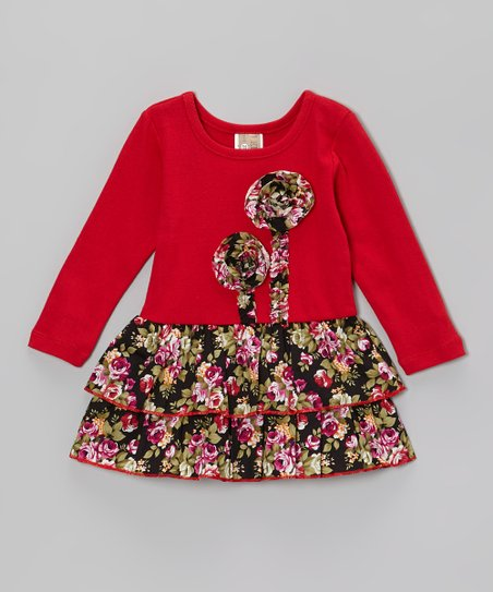 Red & Pink Double Flower Ruffle Dress - Toddler & Girls
