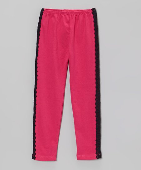 Hot Pink & Black Lace Pants - Infant & Toddler