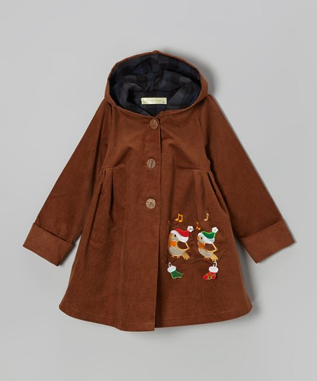 Brown Holiday Bird Corduroy Hooded Coat - Toddler & Girls