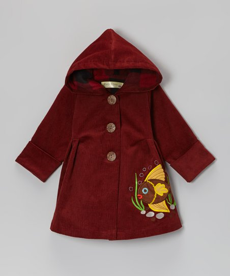Burgundy Fish Corduroy Hooded Coat - Infant & Toddler