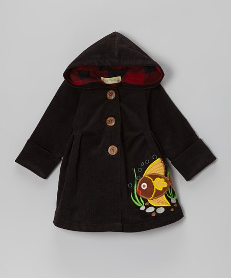 Black Fish Corduroy Hooded Coat - Infant & Toddler