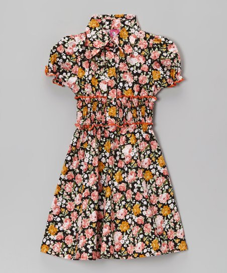 Pink Floral & Orange Contrast Shirt Dress - Toddler & Girls