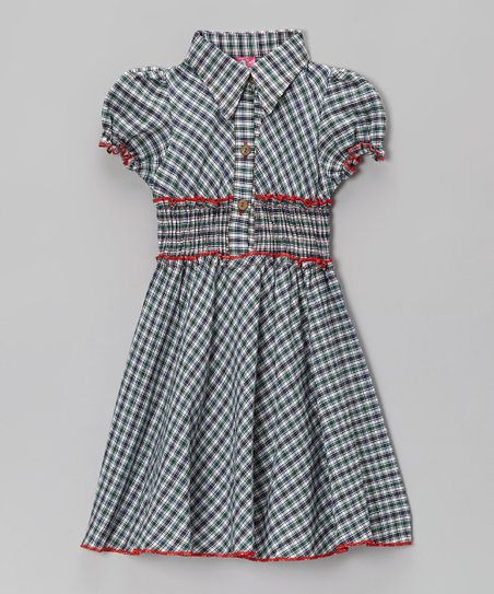 Blue Plaid & Red Contrast Shirt Dress - Toddler & Girls