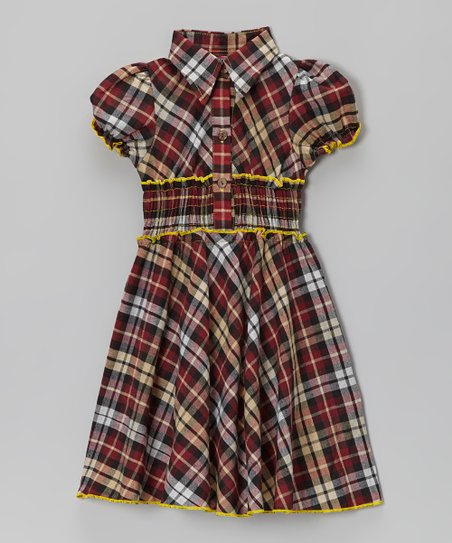 Brown Plaid & Yellow Contrast Shirt Dress - Toddler & Girls