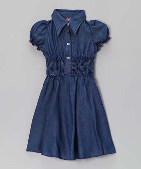 Denim Contrast Shirt Dress - Toddler & Girls