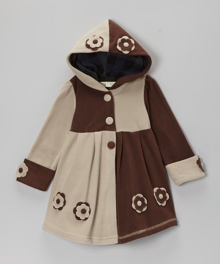Cream & Brown Two-Tone Hooded Coat - Toddler & Girls