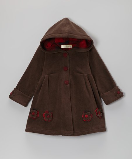 Brown Flower Hooded Swing Coat - Toddler & Girls