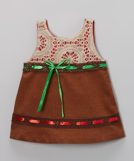 Brown Ribbon Corduroy Swing Dress - Toddler & Girls