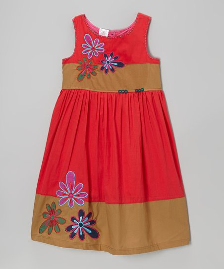 Red & Khaki Flower Dress - Infant, Toddler & Girls