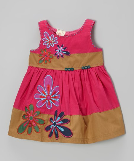 Hot Pink & Khaki Flower Dress - Infant, Toddler & Girls