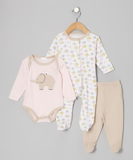 Pink Elephant Footie Set - Infant