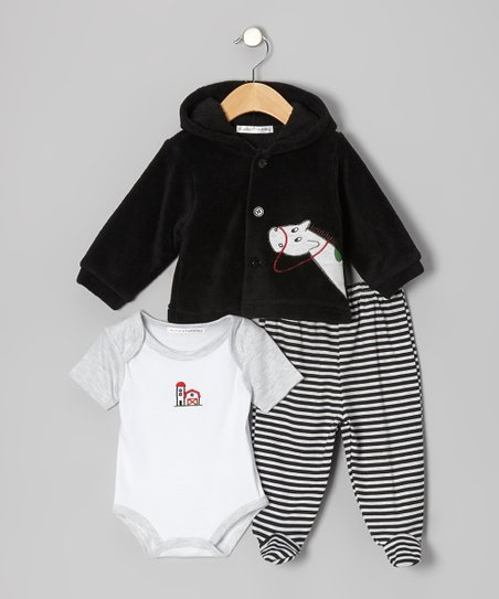 Black Horse Footie Pants Set