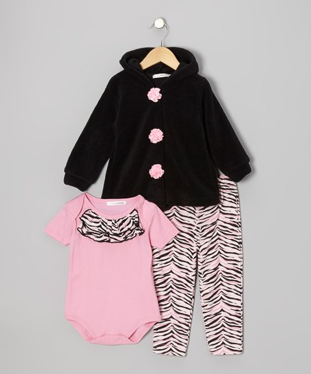 Black & Pink Zebra Hooded Jacket Set