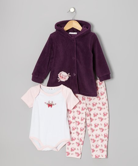 Purple & Pink Rose Hooded Jacket Set - Infant