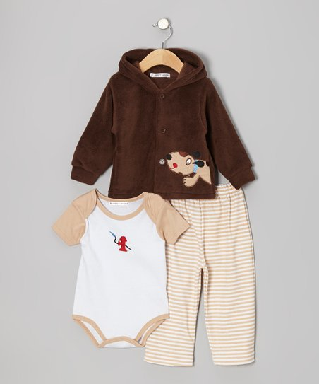 Brown Puppy Hooded Jacket Set - Infant
