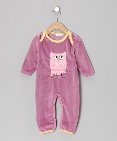 Purple Owl Velour Playsuit - Infant