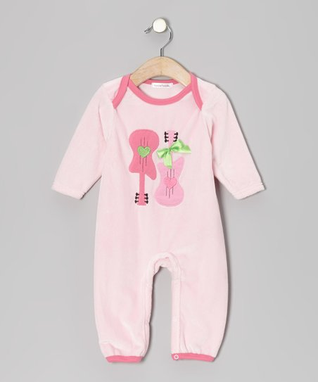 Pink Guitar Velour Playsuit - Infant