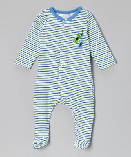 Blue & Green Stripe Guitar Footie - Infant