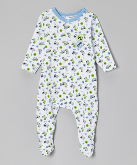 Blue & Green Truck Footie - Infant