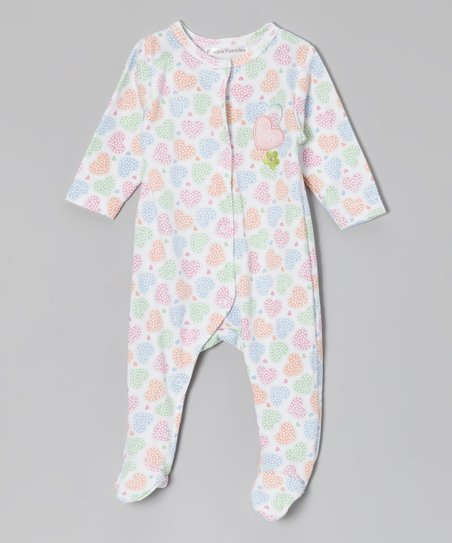 White & Pink Heart Footie - Infant