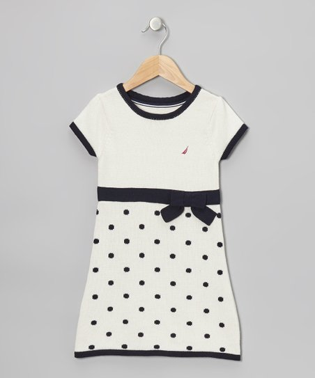 Natural & Navy Polka Dot Bow Dress - Infant, Toddler & Girls
