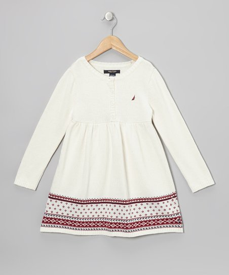 Natural Fair Isle Button Dress - Girls