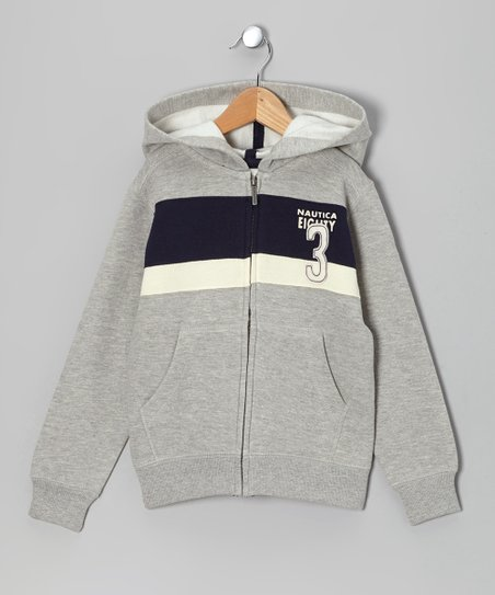 Ash & Navy Stripe 'Eighty 3' Fleece Zip-Up Hoodie