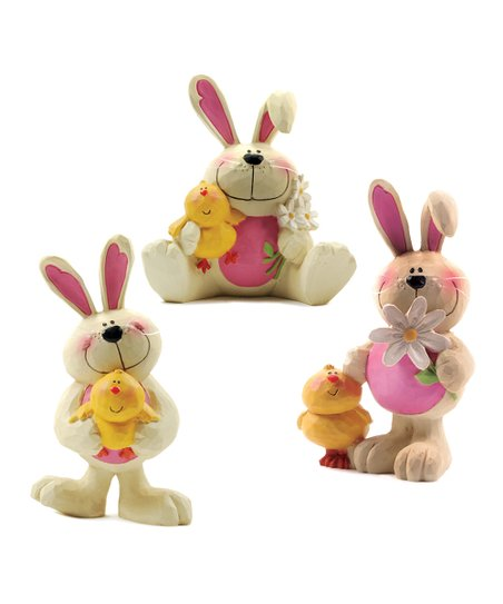 Pink & White Floral Bunny & Chick Collectible Set