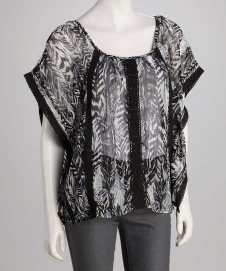 Black Leaves Sheer Cape-Sleeve Tunic