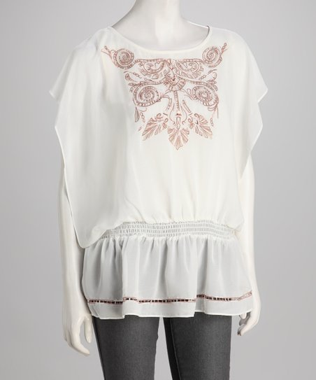 Ivory Embroidered Cutout Cape-Sleeve Tunic