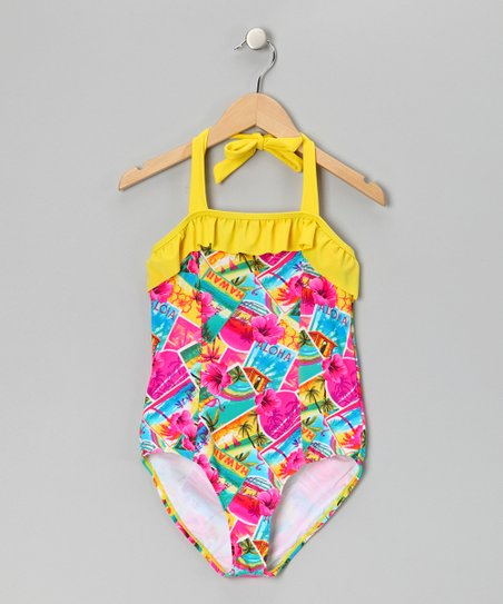 Yellow & Teal Paradise Get Away One-Piece