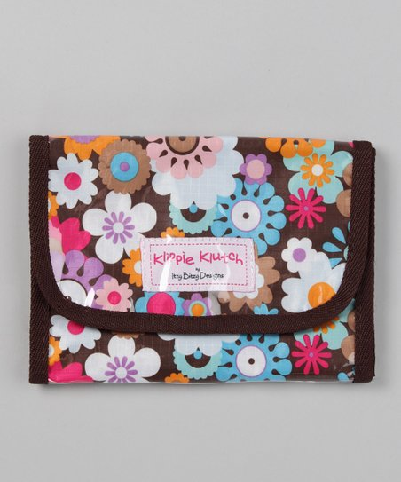 Brown Floral Klippie Klutch Accessory Bag