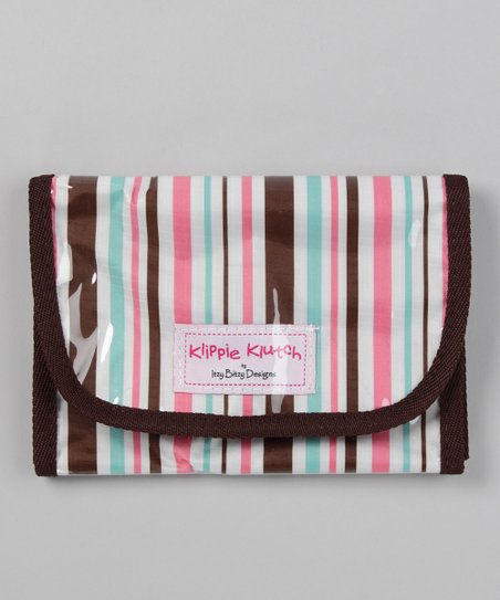 Brown Stripe Klippie Klutch Accessory Bag
