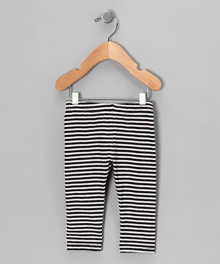 White & Black Stripe Leggings - Infant