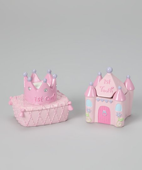 Pink Princess 'First Curl' & Flower 'First Tooth' Keepsake Set