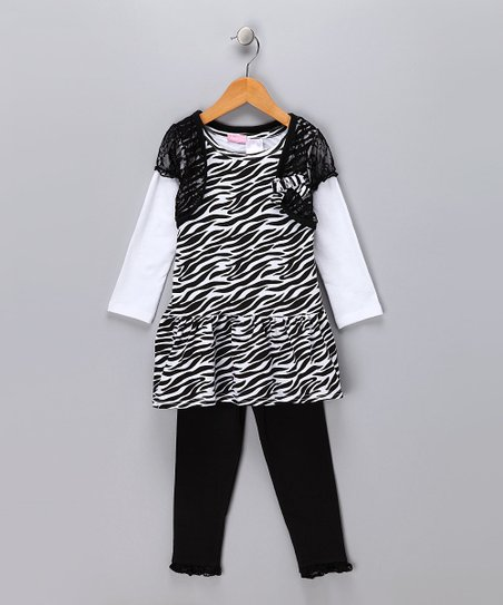 Black Zebra Layered Dress & Leggings - Infant
