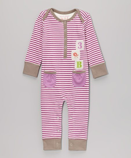 Purple Wine Stripe Playsuit - Infant