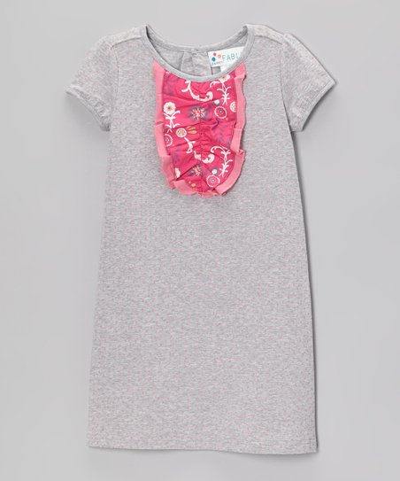 Heather Gray & Pink Polka Dot Ruffle-Front Dress - Toddler & Girls