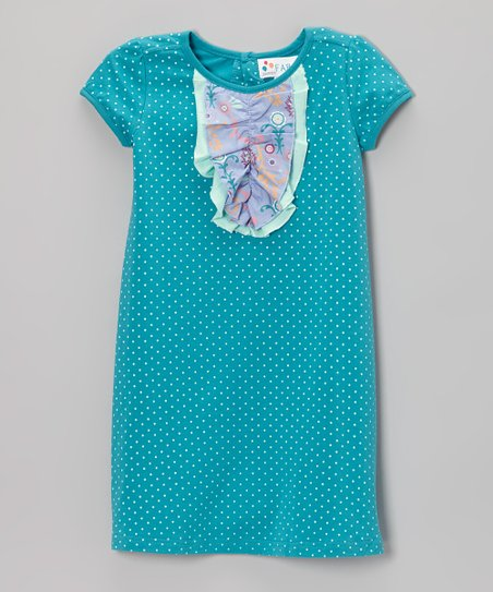 Lake Blue Polka Dot Ruffle-Front Dress - Toddler & Girls