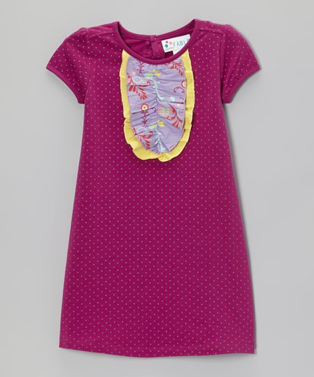 Boysenberry Polka Dot Ruffle-Front Dress - Toddler & Girls