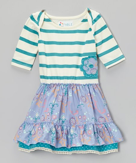 Lake Blue & Lilac Stripe Floral Dress - Toddler & Girls