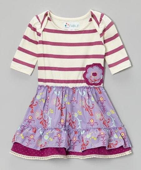 Boysenberry & Lilac Stripe Floral Dress - Toddler & Girls
