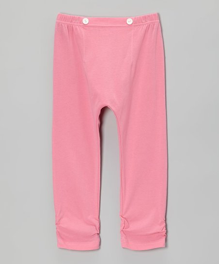 Bubblegum Pink Ruched Leggings - Infant