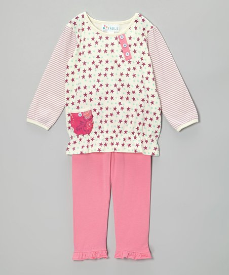 Boysenberry Star Tunic & Pink Ruffle Leggings - Girls