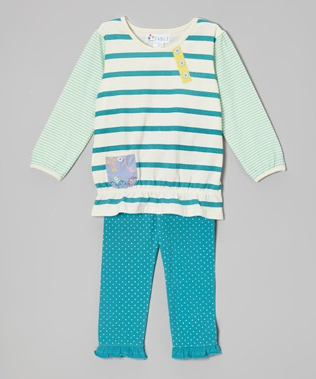 Lake Blue Stripe Ruffle Tunic & Polka Dot Leggings - Girls