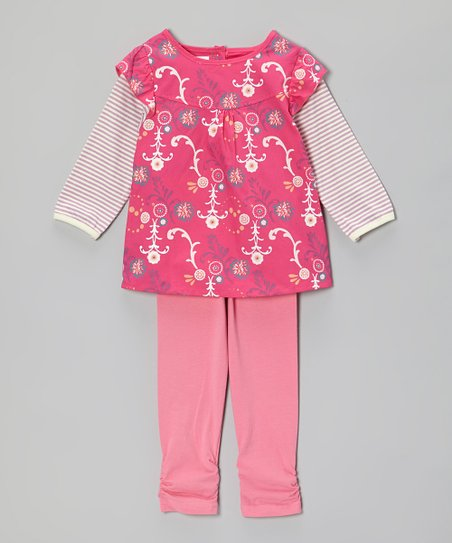Pink Floral Layered Tunic & Ruched Leggings - Toddler