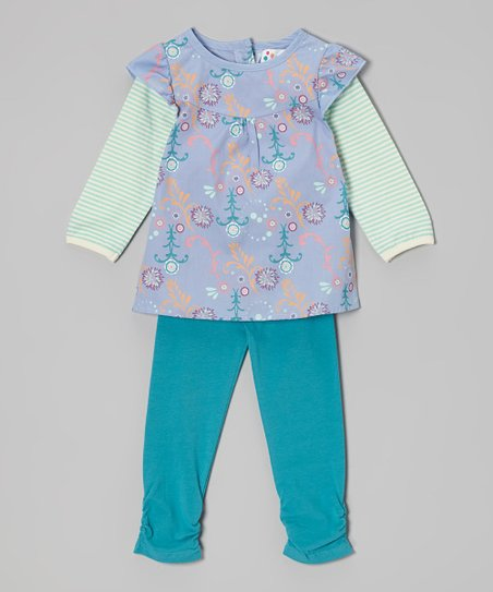 Lilac Floral Layered Tunic & Lake Blue Leggings - Toddler